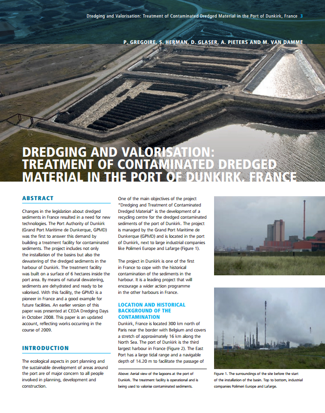 Dredging and Valorisation: Treatment of Contaminated Dredged Material in the Port of Dunkirk, France