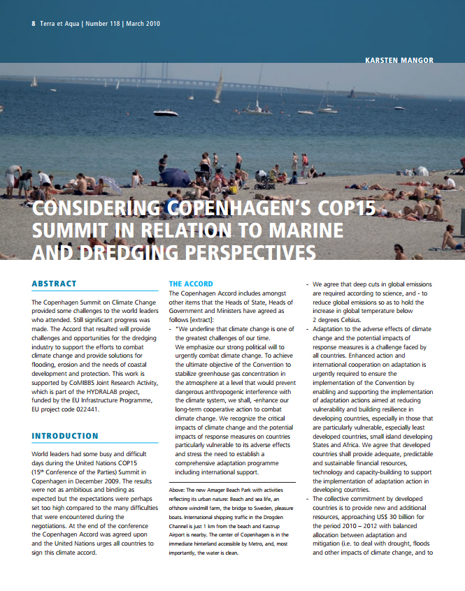 Considering Copenhagen's COP15 Summit in Relation to Marine and Dredging Perspectives