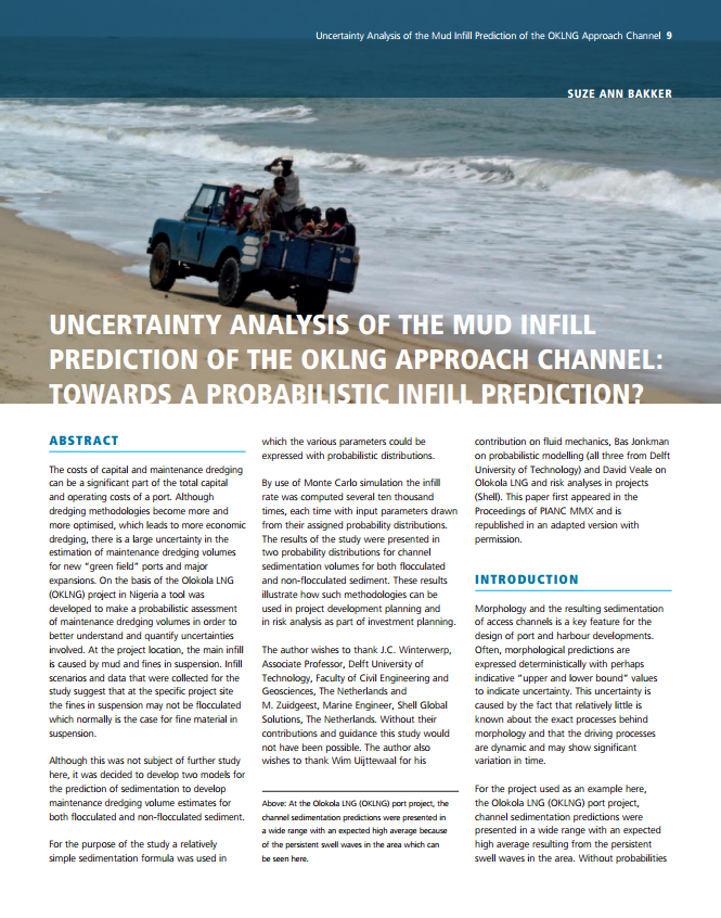 Uncertainty Analysis of the Mud Infill Prediction of the Oklng Approach Channel