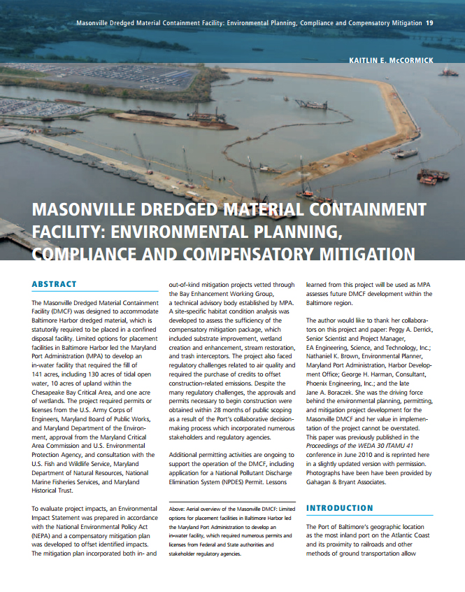 Masonville Dredged Material Containment Facility: Environmental Planning, Compliance and Compensatory Mitigation