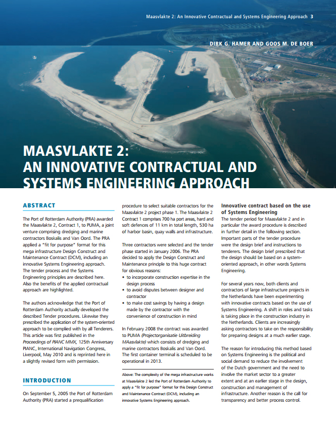 Maasvlakte 2: An Innovative Contractual and Systems Engineering Approach