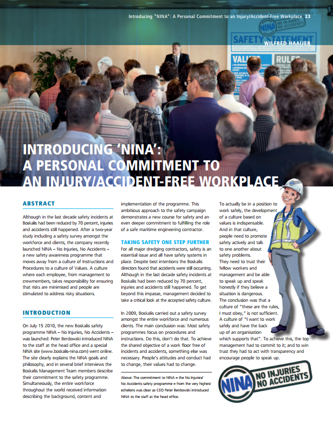 """Introducing """"NINA"""": A Personal Commitment to an Injury/Accident-Free Workplace"""