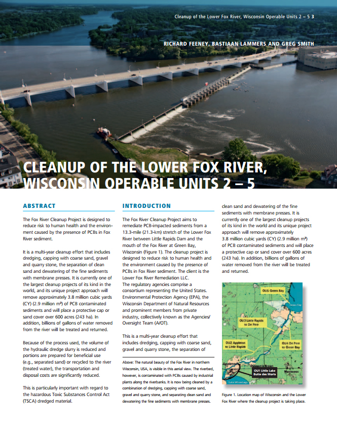 Cleanup of the Lower Fox River, Wisconsin Operable Units