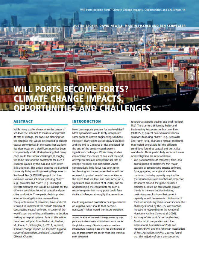 Will Ports Become Forts? Climate Change Impacts, Opportunities and Challenges