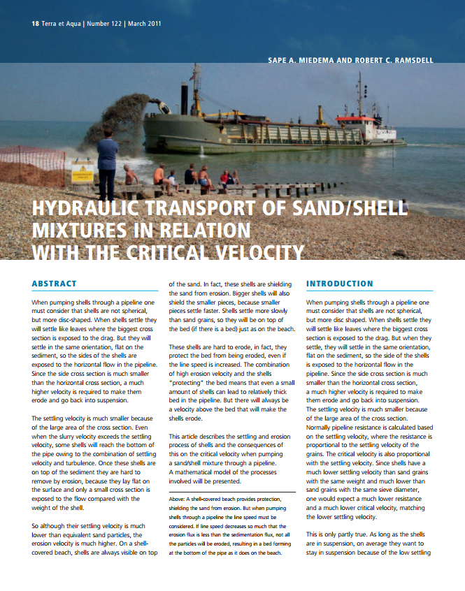 Hydraulic Transport of Sand/Shell Mixtures in Relation with the Critical Velocity