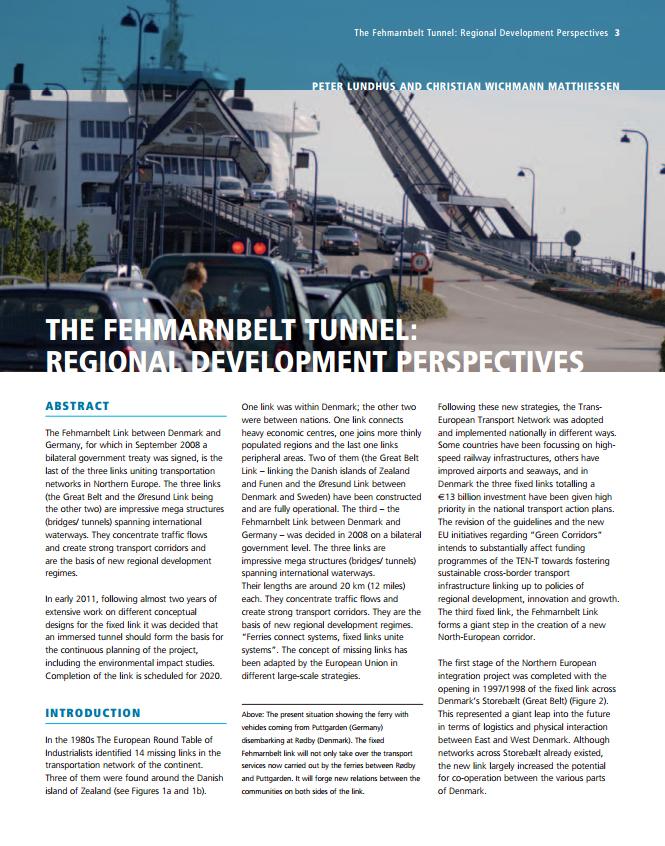 The Fehmarnbelt Tunnel: Regional Development Perspectives