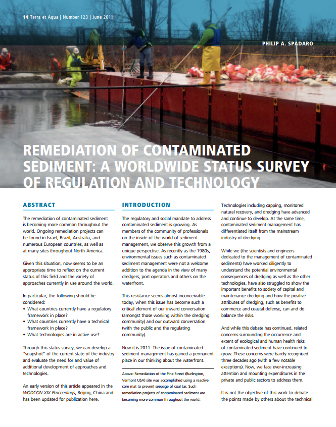 Remediation of Contaminated Sediment: A Worldwide Status Survey of Regulation and Technology