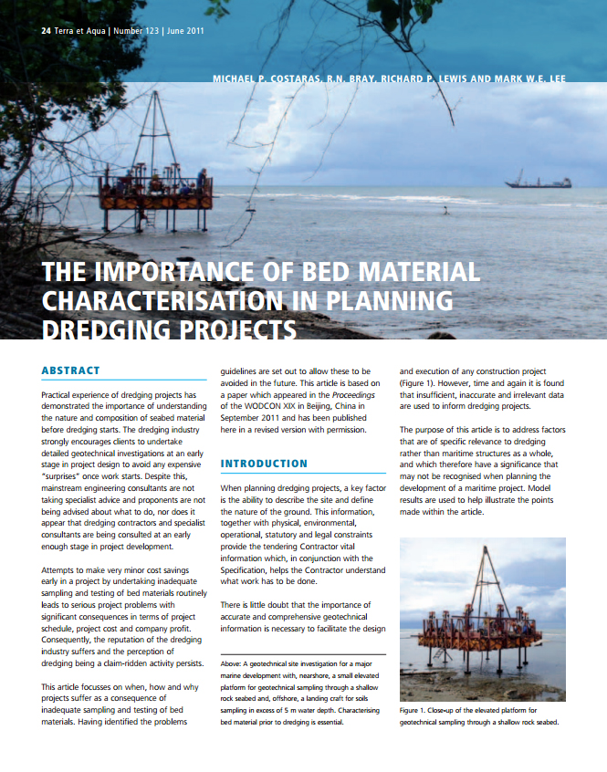 The Importance of Bed Material Characterisation in Planning Dredging Projects