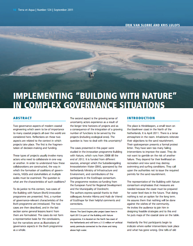 "Implementing ""Building with Nature"" in Complex Governance Situations"