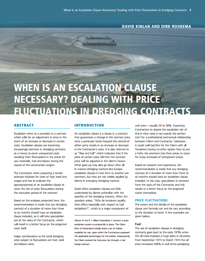 When is an Escalation Clause Necessary? Dealing with Price Fluctuations in Dredging Contracts
