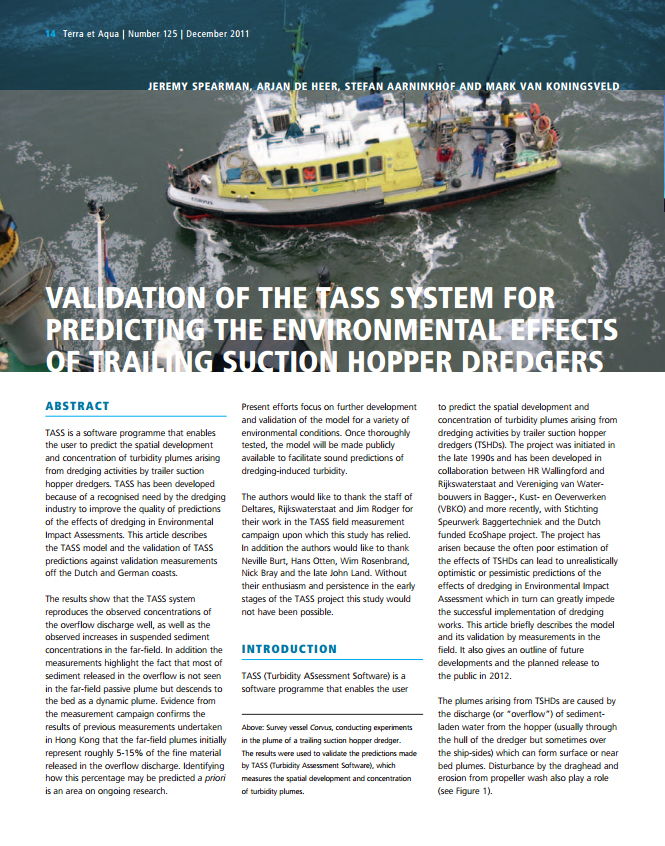 Validation of the Tass System for Predicting the Environmental Effects of Trailing Suction Hopper Dredgers