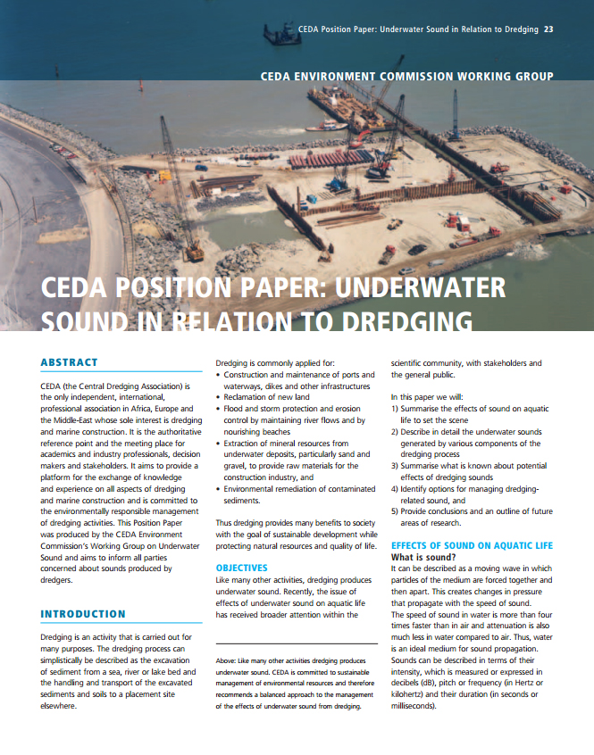 Underwater Sound in Relation to Dredging (CEDA Position Paper)