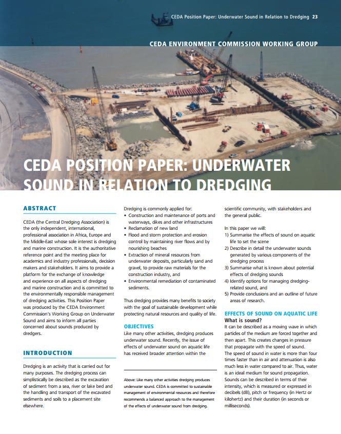Underwater Sound in Relation to Dredging (CEDA Position Paper)