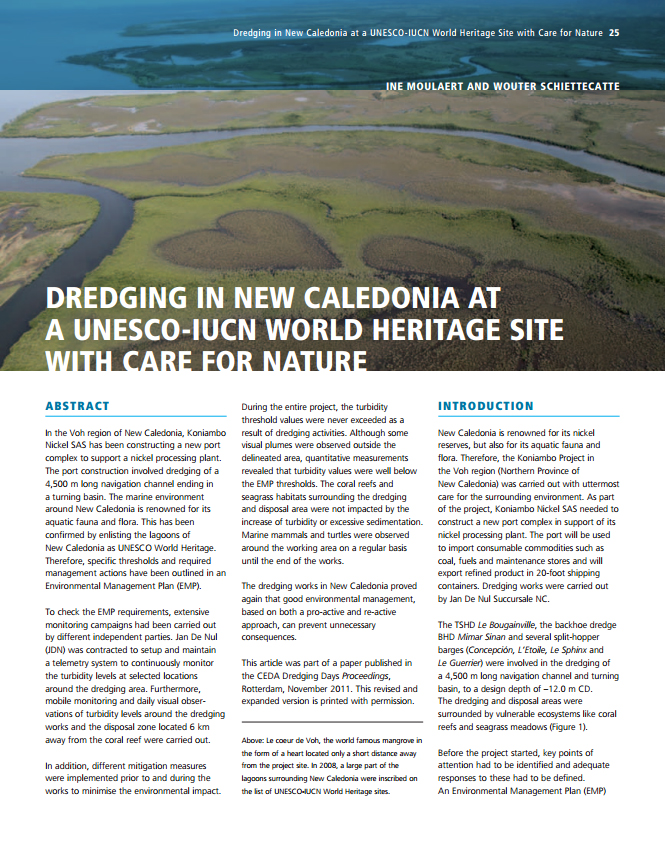 Dredging in New Caledonia at a Unesco-IUCN World Heritage Site with Care for Nature