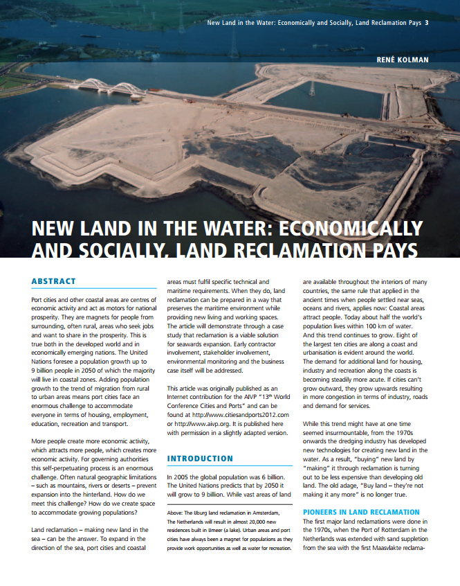 New Land in the Water: Economically and Socially, Land Reclamation Pays