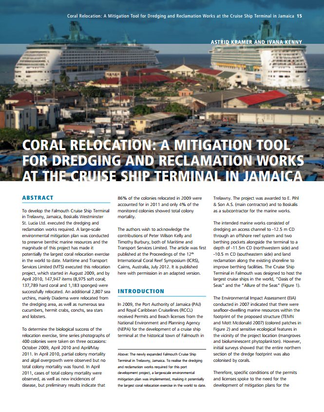 Coral Relocation: A Mitigation Tool for Dredging and Reclamation Works at the Cruise Ship Terminal in Jamaica