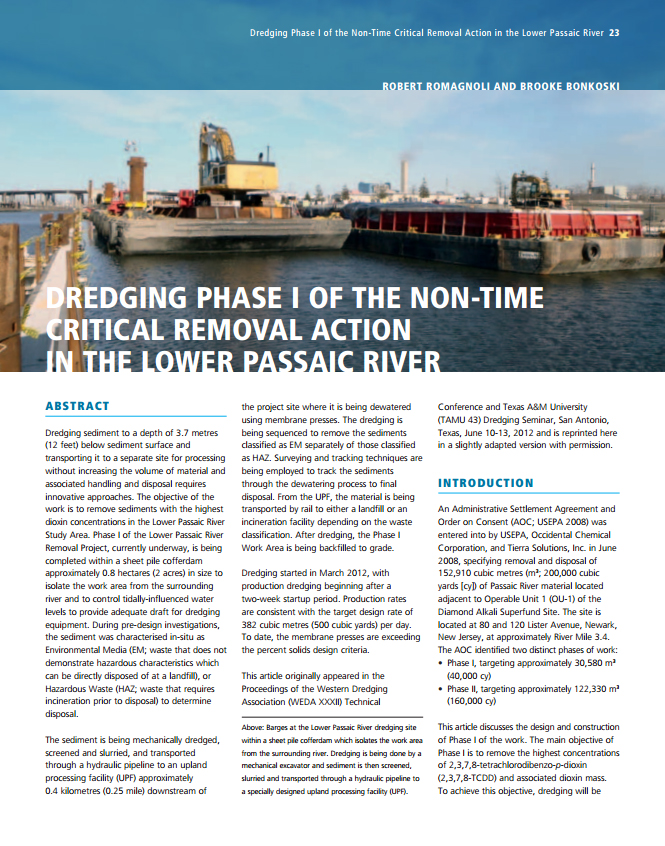 Dredging Phase I of the Non-Time Critical Removal Action in the Lower Passaic River