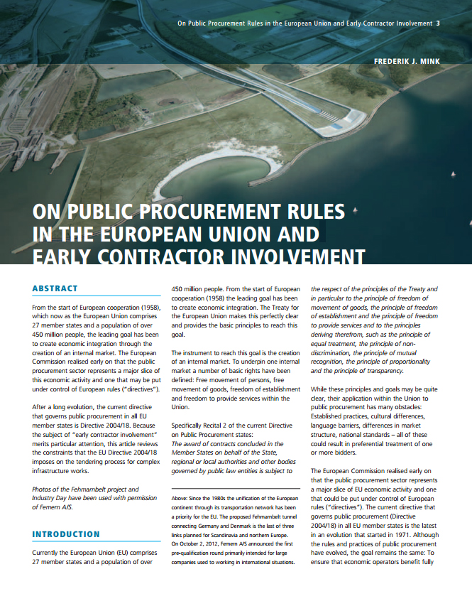 On Public Procurement Rules in the European Union and Early Contractor Involvement