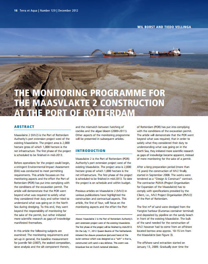 The Monitoring Programme for the Maasvlakte 2 Construction at the Port of Rotterdam