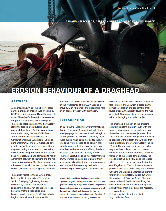 Erosion Behaviour of a Draghead