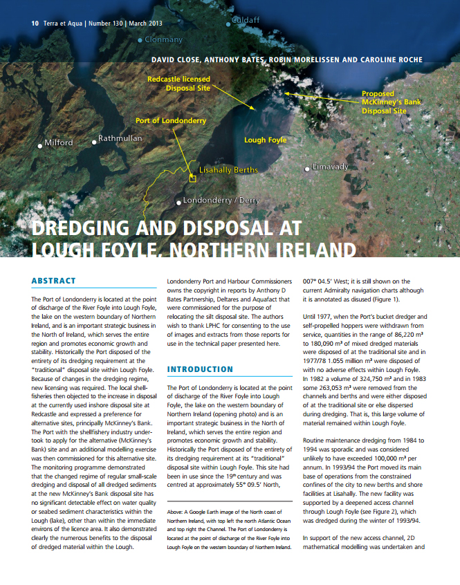 Dredging and Disposal at Lough Foyle, Northern Ireland