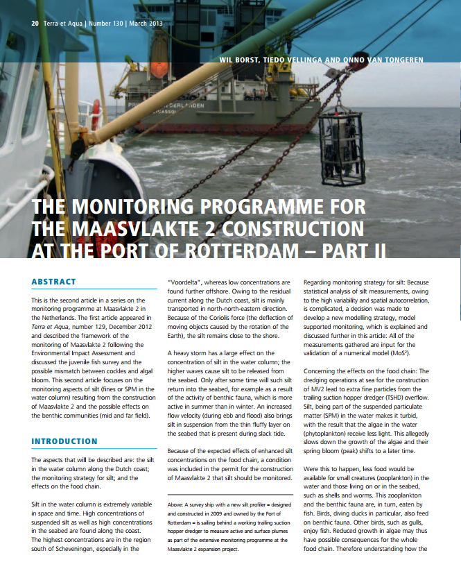 The Monitoring Programme for the Maasvlakte 2 Construction at the Port of Rotterdam – Part II