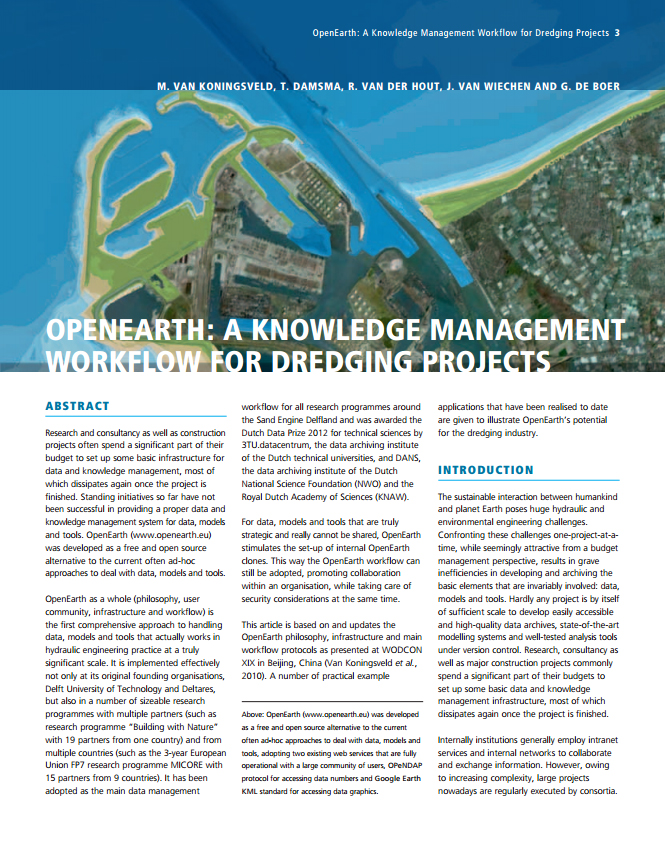 OpenEarth: A Knowledge Management Workflow for Dredging Projects