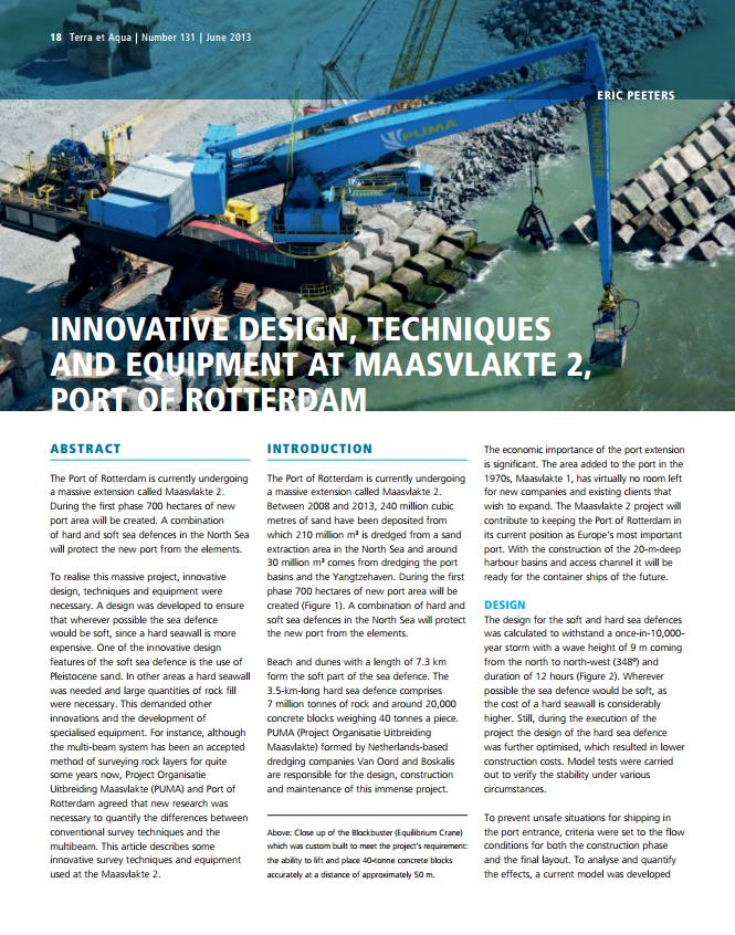 Innovative Design, Techniques and Equipment at Maasvlakte 2, Port of Rotterdam