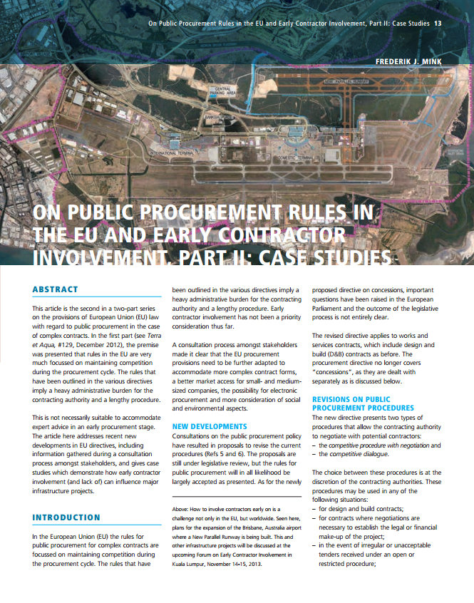 On Public Procurement Rules in the EU and Early Contractor Involvement, Part II: Case Studies