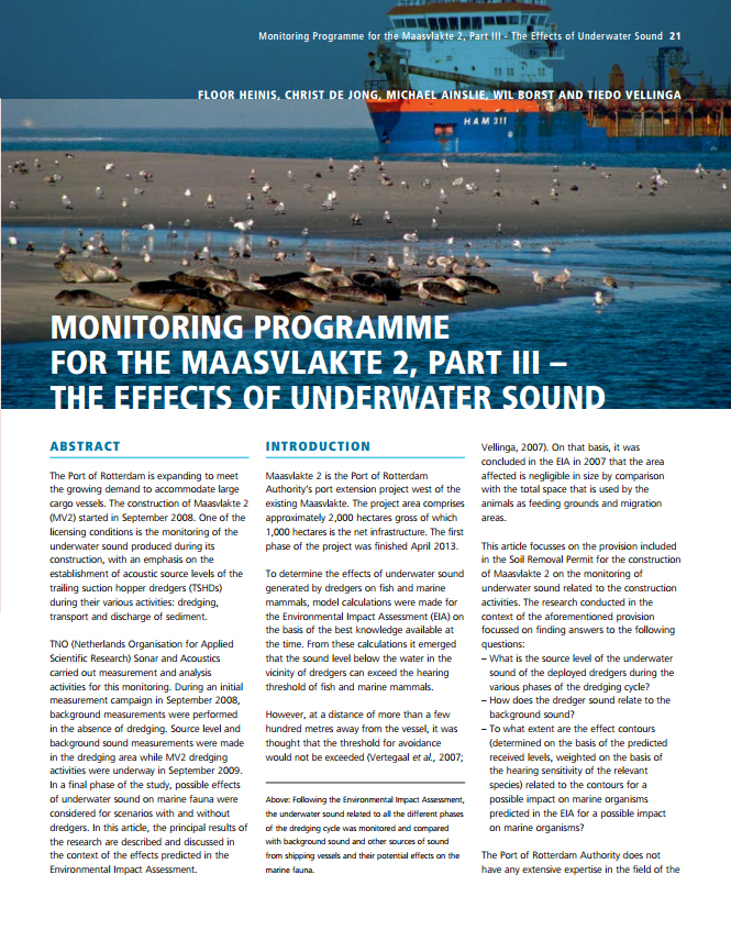 Monitoring Programme for the Maasvlakte 2, Part III - The Effects of Underwater Sound