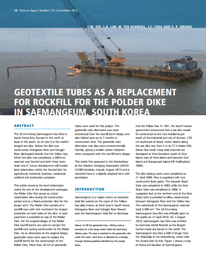 Geotextile Tubes as a Replacement for Rockfill for the Polder Dike in South Korea