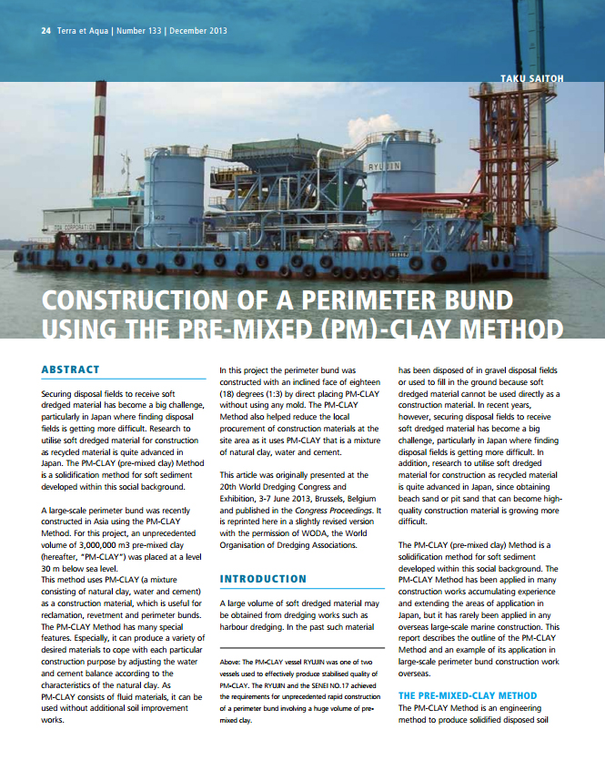 Construction of a Perimeter Bund Using the Pre-Mixed (PM)-Clay Method
