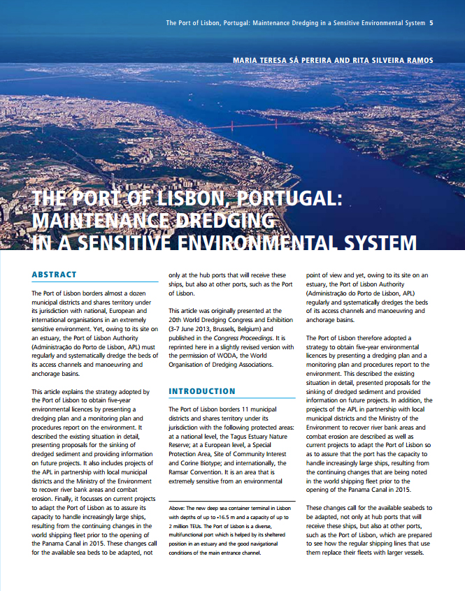 The Port of Lisbon, Portugal: Maintenance Dredging in a Sensitive Environmental System
