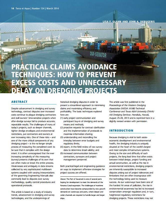 Practical Claims Avoidance Techniques: How to Prevent Excess Costs and Unnecessary Delay on Dredging Projects