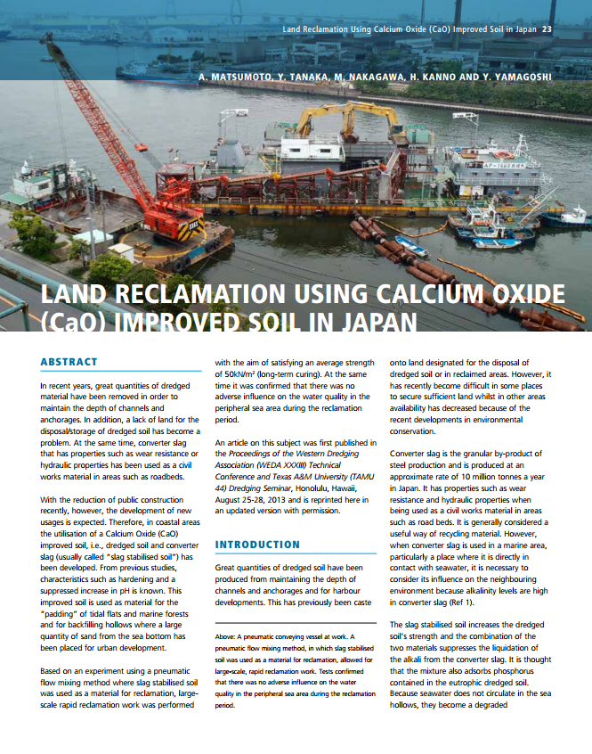 Land Reclamation Using Calcium Oxide (CaO) Improved Soil in Japan