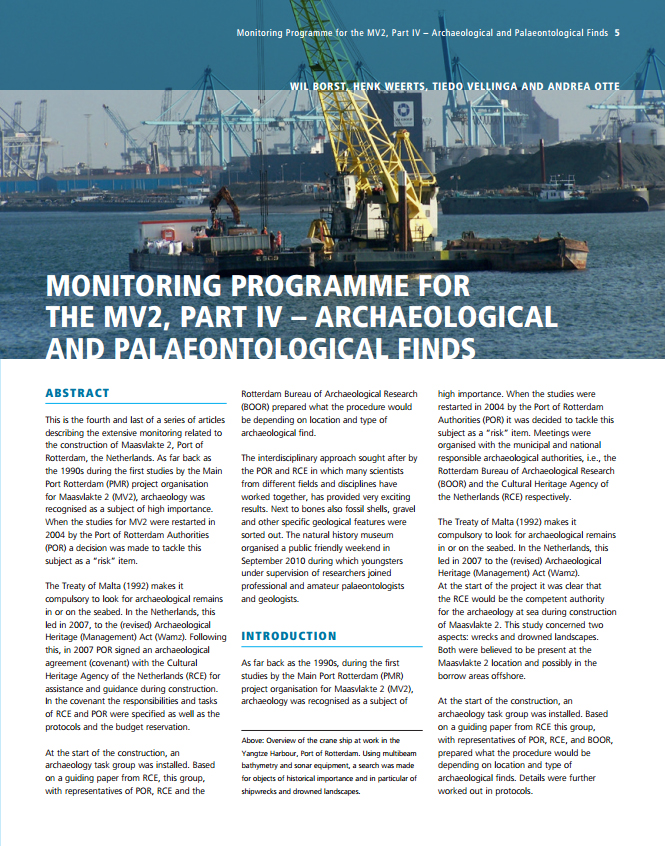 Monitoring Programme for the MV2, Part IV – Archaeological and Palaeontological Finds