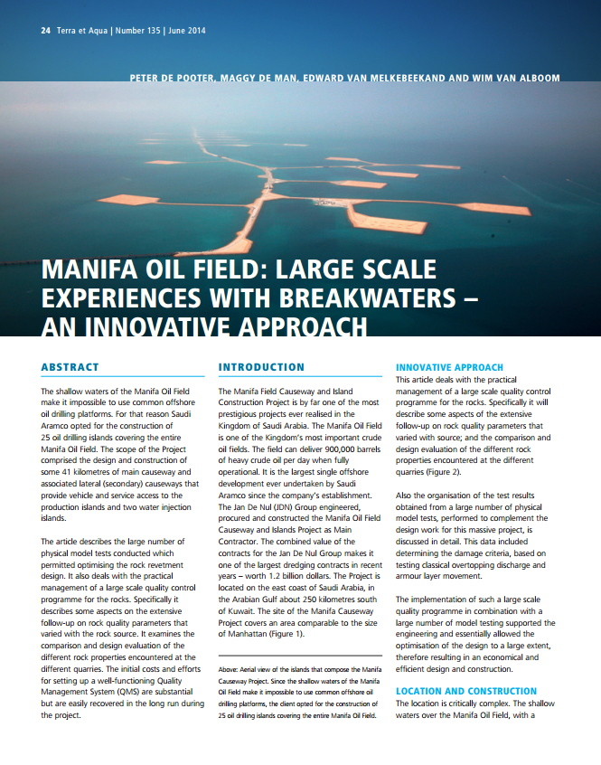 Manifa Oil Field: Large Scale Experiences with Breakwaters – An Innovative Approach