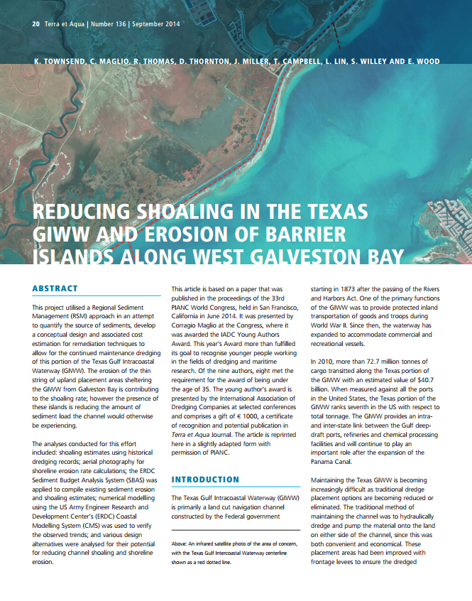 Reducing Shoaling in the Texas GIWW and Erosion of Barrier Islands Along West Galveston Bay