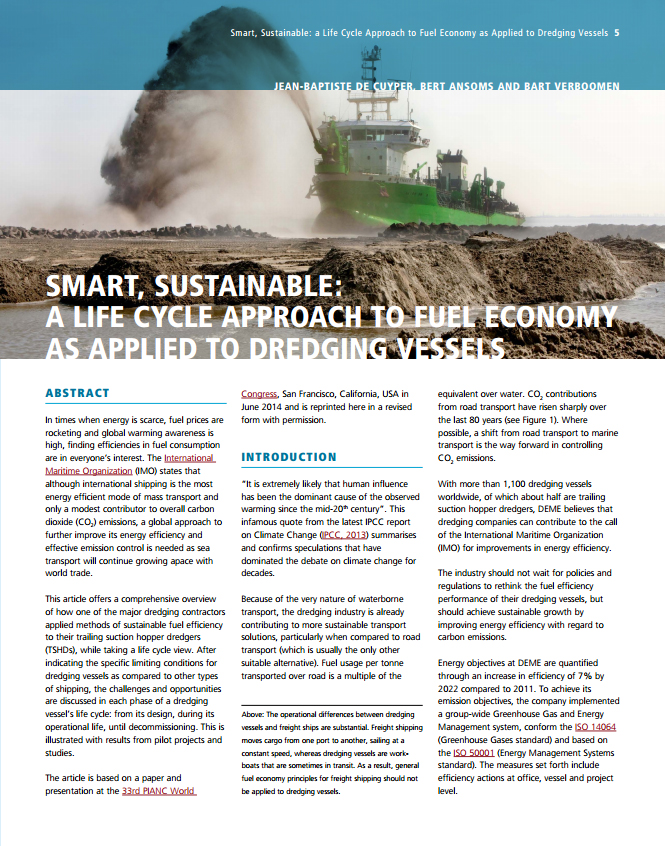 Smart, Sustainable: a Life Cycle Approach to Fuel Economy as Applied to Dredging Vessels