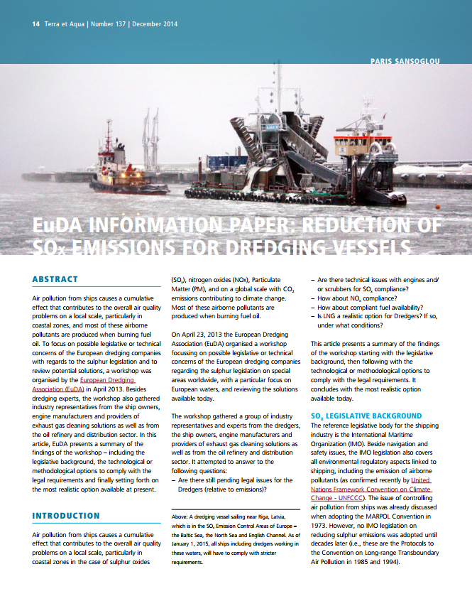 Reduction of SOx Emissions for Dredging Vessels (EuDA Information Paper)