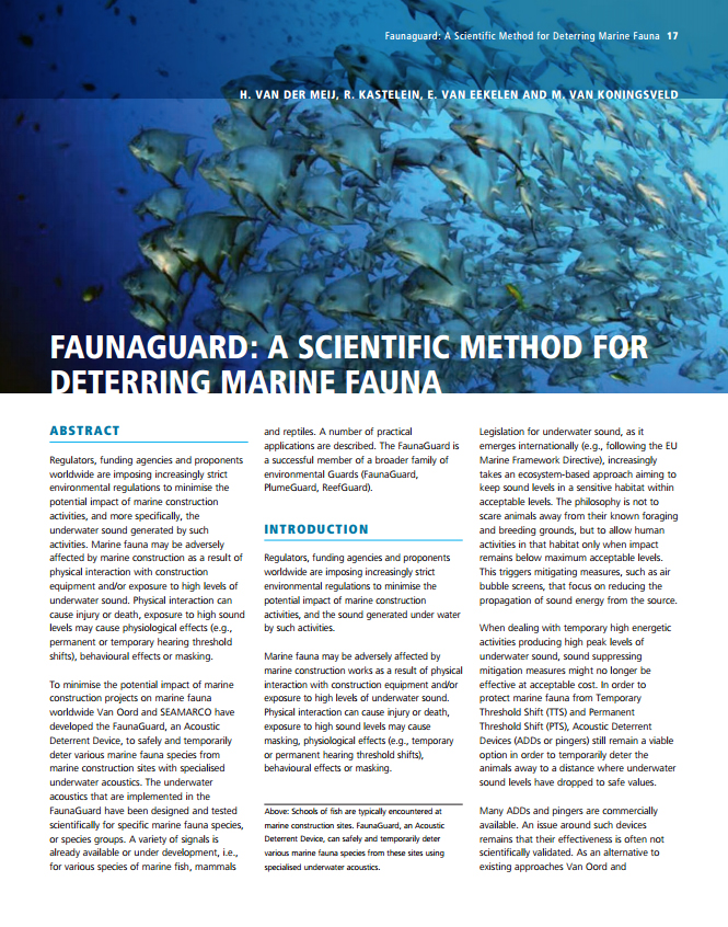 Faunaguard: A Scientific Method for Deterring Marine Fauna