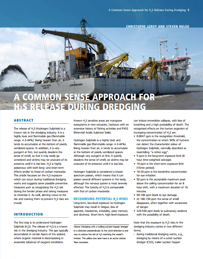 A Common Sense Approach for H2S Release During Dredging