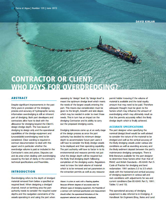Contractor or Client: Who Pays for Overdredging?