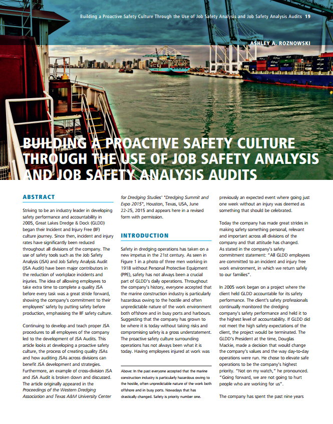 Building a Proactive Safety Culture Through the Use of Job Safety Analysis and Job Safety Analysis Audits