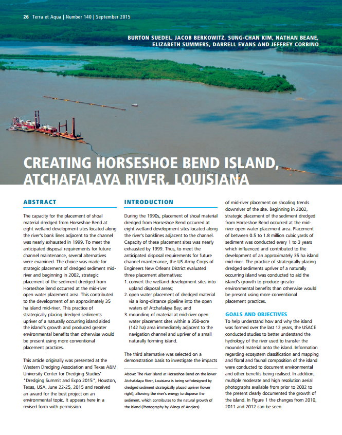 Creating Horseshoe Bend Island, Atchafalaya River, Louisiana