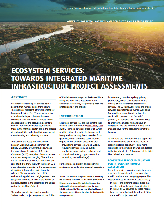 Ecosystem Services: Towards Integrated Maritime Infrastructure Project Assessments