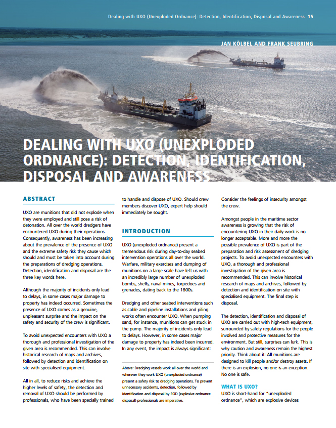 Dealing with UXO (Unexploded Ordnance): Detection, Identification, Disposal and Awareness
