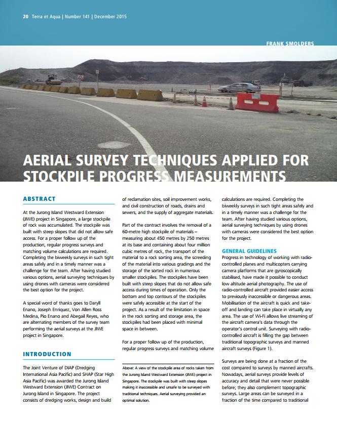 Aerial Survey Techniques Applied for Stockpile Progress Measurements