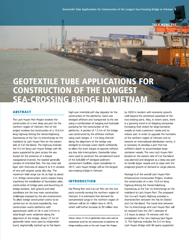 Geotextile tube applications for construction of the longest sea-crossing bridge in Vietnam
