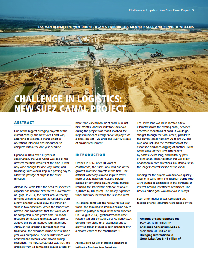Challenge in Logistics: New Suez Canal Project